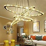 Hengda® Lüster Deckenleuchte Mit 3 LED Ring Kronleuchter Ring lampe | 72W Dimmbar Lichtfarben Wechselbar | rund Kristallkronleuchter | für Korridor Landhaus Geschäft -- angenehmes Licht