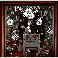 Cosanter Cloches de Noël Autocollant Décoration de Fenêtre Flocon de Neige Wall Stickers pour Home Déco