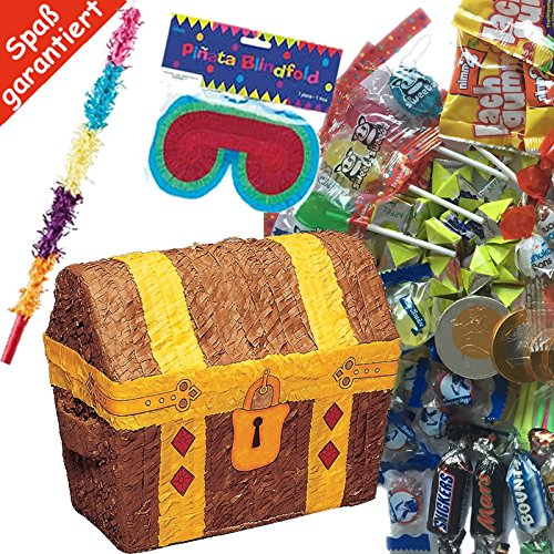 KISTE * mit + Maske + Schläger + 100-teiliger Süßigkeiten-Füllung No.1 von Carpeta© // Handgefertigte spanische Pinata. Tolles Spiel für Kindergeburtstag oder Mottoparty (Schatzkiste Pinata)