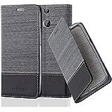 Cadorabo - Funda Estilo Book para HTC ONE M8 (2. Generación) de Diseño Tela / Cuero Arificial con Tarjetero, Función de Suporte y Cierre Magnético Invisible - Etui Case Cover Carcasa Caja Protección en GRIS-NEGRO