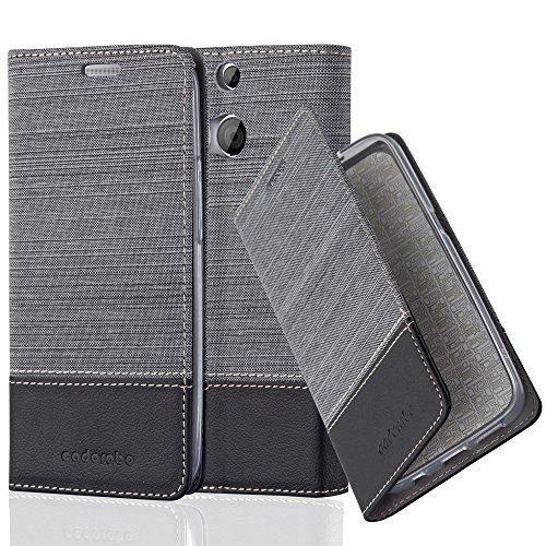 Preisvergleich Produktbild Cadorabo Hülle für HTC ONE M8 (2. Gen.) - Hülle in GRAU SCHWARZ – Handyhülle mit Standfunktion und Kartenfach im Stoff Design - Case Cover Schutzhülle Etui Tasche Book