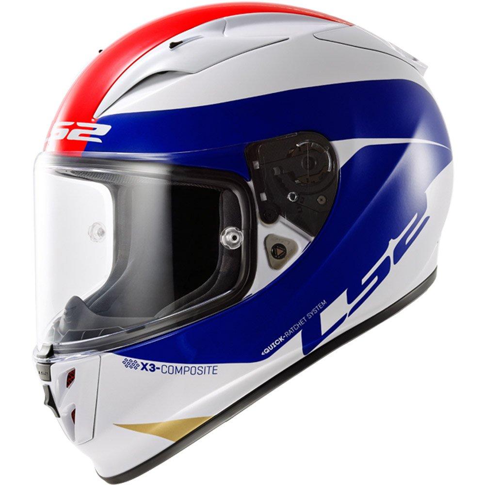 LS2 - Casco per Moto, Bianco/Blu/Rosso, M