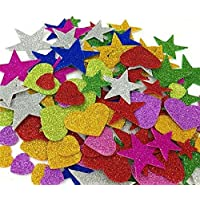 E Shopping ® Mixed Shaped Glitter Stickers EVA Foam Self Adhesive Stickers for Art and Craft, Card Making, Scrapbooking…