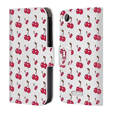 Head Case Designs Kirschen Obst Muster Brieftasche Handyhülle aus Leder für HTC Desire 320