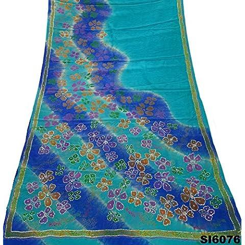 Bordado De La Vendimia Sari Mujer Mezcla De Seda Azul Cubre El Vestido Sari Bollywood Decoración Velo 5 Yardas