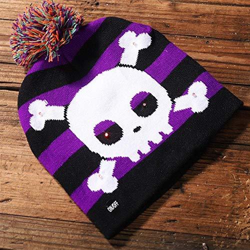 een New Shiny Strickmütze - Kinder Erwachsenen Hut - Party Supplies Kürbisgeist mit Licht Kappe - Halloween Dekoration Hut Led (Stricken + Laterne) ()