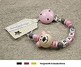 Baby SCHNULLERKETTE mit NAMEN | Schnullerhalter mit Wunschnamen - Mädchen Motiv Bär in rosa