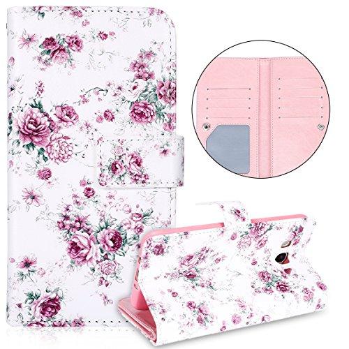 Preisvergleich Produktbild Galaxy J7 2016 Hülle,Galaxy J7 2016 Lederhülle,Surakey Handyhülle Galaxy J7 2016 PU Leder Wallet Tasche Brieftasche Schutzhülle Muster Flip Hülle Ledertasche Magnet Handytasche,Pink Rose