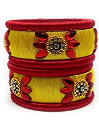 SAI Handmade Silk Thread Bangle Set For Women, Yellow And Red Color With Stone (Size - 2.8)