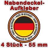 wall-art-design 4 Stück Nabendeckel Aufkleber Made in Germany - 55 mm, selbstklebender PVC Vinylaufkleber mit Schutzlaminat