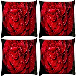 Snoogg Water Drops In Rose Pack Of 4 Digitally Printed Cushion Cover Pillows 18 X 18 Inch