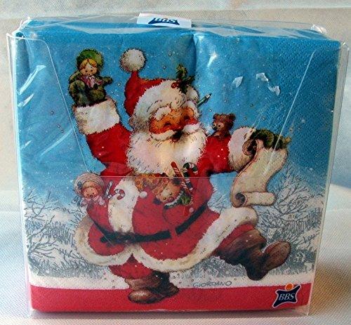 60 tovaglioli 33x33 cm Santa Claus in dispenser B&S