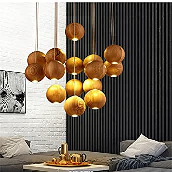 GENERIC 1 ball : 2016 Solid wood chandelier modern Chinese Japanese Nordic creative minimalist living room dining three single-head wooden lamp