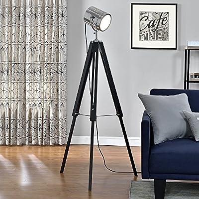 [lux.pro] Stehleuchte Tripod (1 x E27 Sockel)(64cm - 140cm) Industrial Design Dreifuss Dreibein Tripod Teleskop Chrom Stehlampe Leuchte von lux.pro - Lampenhans.de