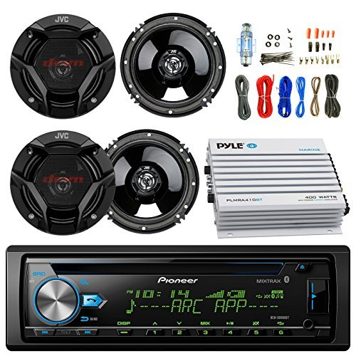 "EnrockAutomotiveBundle Pioneer DEH-X6900BT Car CD Player Receiver Bluetooth USB AUX Radio - Bundle Combo With 4x JVC CSDR620 6.5"" Inch 300-Watt 2-Way Black Audio Coaxial Speakers + + 4-Channel Amplifier + Amp Kit"