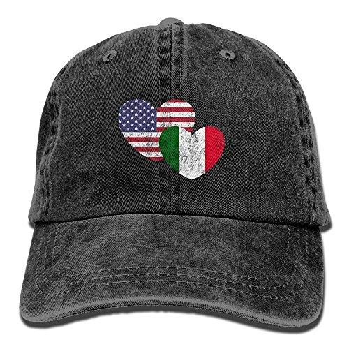 American Flag Love Vintage Washed Dyed Cotton Twill Low Profile Adjustable Baseball Cap Black (Black Flag Alle Kostüme)