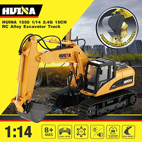 RC Auto kaufen Baufahrzeug Bild 2: HUINA 1550 1/14 2.4G 15CH RC Legierung Bagger LKW Baufahrzeug Spielzeug*
