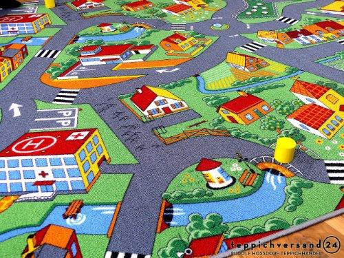 Kinder Spiel Teppich Little Village Grün in 24 Größen - 2