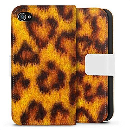 Apple iPhone X Silikon Hülle Case Schutzhülle Leopard Look Fell Tiere Sideflip Tasche weiß