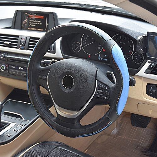 MPTECK @ Auto Lenkradhülle Schwarz Blau Leder Lenkrad Abdeckung Lenkradschoner Lenkradabdeckung 37-38cm für KFZ AUTO SUV SUVs Autos