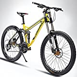 LightInTheBox Mountain Bike Radfahren 24 Speed 26 Zoll/700CC 60mm Herren / Unisex Erwachsene EF51-8 Double Disc Bremse Suspension ForkFull Suspension (Gelb)