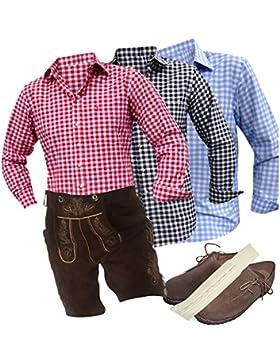 Trachten-Set komplett für Herren 5-teilig mit echter Leder-Hose (kurz, braun + Träger mit uriger Stickerei), kariertes...