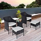 Outsunny 5pc Rattan Bistro Set Rattan Sessel Fußhocker Glas-Couchtisch Kombi Garten Terrasse, Möbel mit Kissen, braun