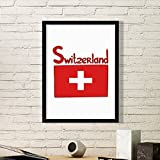DIYthinker Schweiz Nationalflagge Rot Muster-Kunst-Malerei Bild Foto Wooden Rectangle Rahmen Ausgangswand-Dekor-Geschenk Medium Schwarz