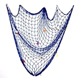 Yakamoz Mediterranean Style Wall Hanging Decorative Fish Net with 9 Sea Shells, 79 x 59 inch , Blue