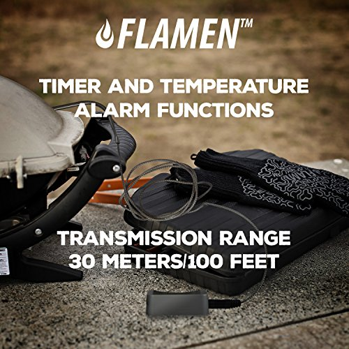 Flamen BBQ Meat Food Thermometer with Built-in Timer Long Range Stainless Steel Probe Wireless and Digital For Smoker Grill Oven Meat BBQ