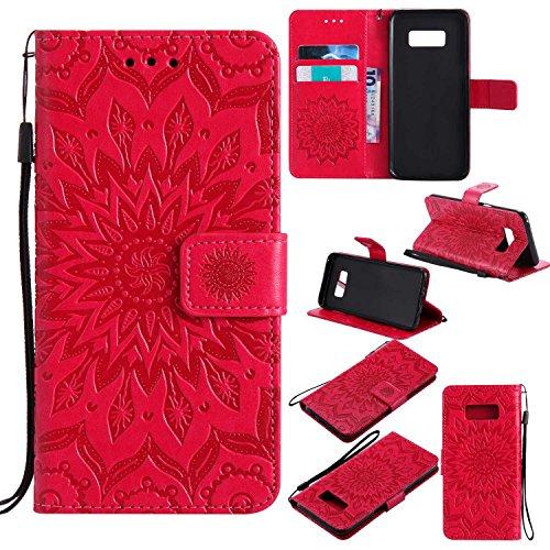 Bear Village Funda Samsung Galaxy S8, Cuero Fundas con [Garantía de por Vida], Protección De Cuerpo Completo Carcasa Case Cover para Samsung Galaxy S8 (#5 Rojo)