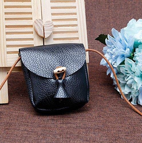 Dairyshop Sacchetti di spalla della borsa delle ragazze dei bambini Borsa della borsa del sacchetto della traversa (Argento) Nero