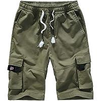 APTRO Mens Cargo Shorts Casual Shorts Cotton Combat Elastic Shorts with Multi Pockets