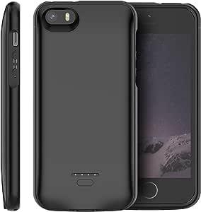 iPhone SE 5SE 5 5S Akku Hülle, 4000mAh Dünn Externe AkkuCase Aufladbar Batterie Ladehülle Integrierten Ersatzakku Ladegerät Power Bank Backup Extra Pack Schutzhülle (Schwarz)