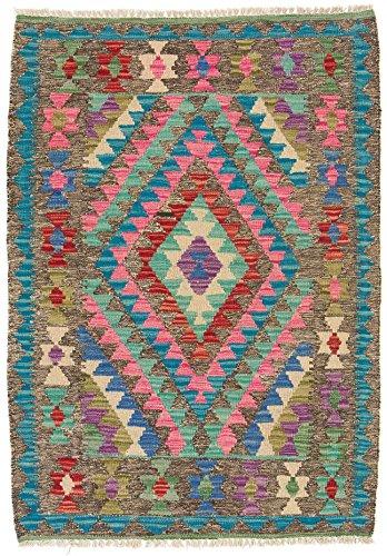 CarpetFine: Tapis Kilim Afghan - 83x118 cm Multicolore - Géométrique