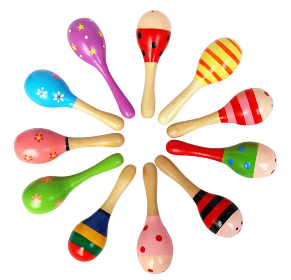 JUNGEN Toddler Rattle Sand Hammers Sound Toys for Baby Wooden Rattle Random Colour 1-Pack