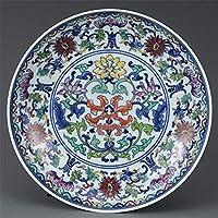 PORCN Antike Qing-Dynastie-Porzellanplatte, Farbe eingewickelte Lotosplatte, handgemaltes Kunsthandwerk, Dekoration, Sammlung und Schmuck