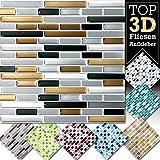 1 pezzo 27,9 x 25,3 cm rame grigio scuro argento mattoncini adesivo per piastrelle Design 6 I Mosaico 3D Mosaico Pellicola in Pellicola Cucina Bagno Sticker Grandora W5423