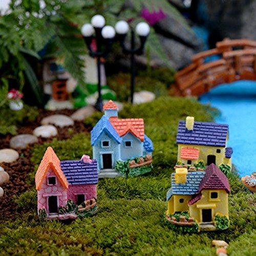 DIY Materiale Crafts Vintage Casa Mini Accessori Paesaggio resina ornamenti, confezione da 3, Colur e forma casuale
