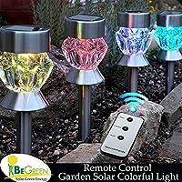 Bluelover Lampada di cortile di 4pcs telecomando solare giardino 2 LED luci colorate in acciaio inox