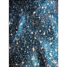 Tissus BLEU Organza ETOILES or argent NOEL au mètre nappe chemin de table déco largeur 150 cm