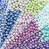 TOAOB 500 Stück 6mm Glasperlen runde sortierte mischfarbige Perlen für Schmuckherstellung