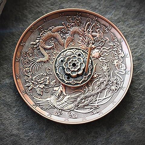 Dragon Kupfer Bronze steckt Joss Stick Räuchergefäß Ash Catcher Halterungen, a, A02