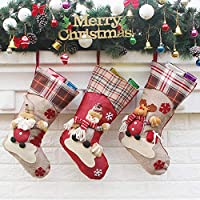 QBSM Christmas Stockings, 18 inch Set of 3 for Kids Burlap Plaid Cuff Stockings with 3D Santa Snowman Reindeer Xmas Characters Stockings for Family Holiday Season Decor
