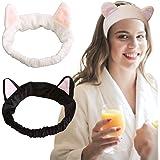 Tomedeks 2 pezzi fascia per capelli carino, orecchie di gatto fasce per il trucco soffici per le donne (bianco e nero)