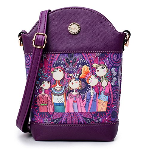 Ms. Messenger Bag Umhängetasche Telefon Verpackungsdruck Wald Purple