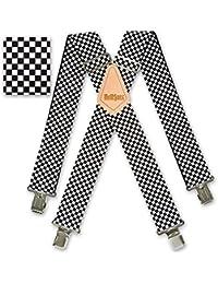 "Brimarc Mens Heavy Duty Black & White Checkered Braces Trouser Belt Suspender 2"" 50mm Wide"
