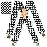 "Search : Brimarc Mens Heavy Duty Black & White Checkered Braces Trouser Belt Suspender 2"" 50mm Wide"