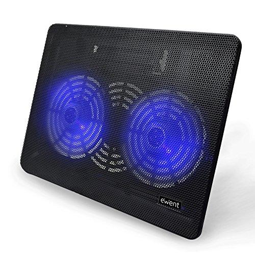 Ewent EW1256 Laptop Kühler 12-17 Zoll, 2 Ruhige Lüfter mit blau LEDs, Cooling Pad, Notebook Cooler Ständer Kühlpad Kühlmatte, schwarz