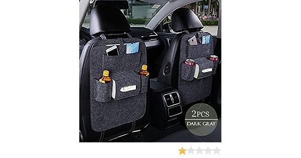 Autositz Organizer Multifunktionaler Dicker Filz Tasche Travel Storag Einfach Zu Installieren Entfernen Und Reinigen Fahrzeug Rear Seat Kick Mat Protector Für Kofferraum Dunkelgrau Auto